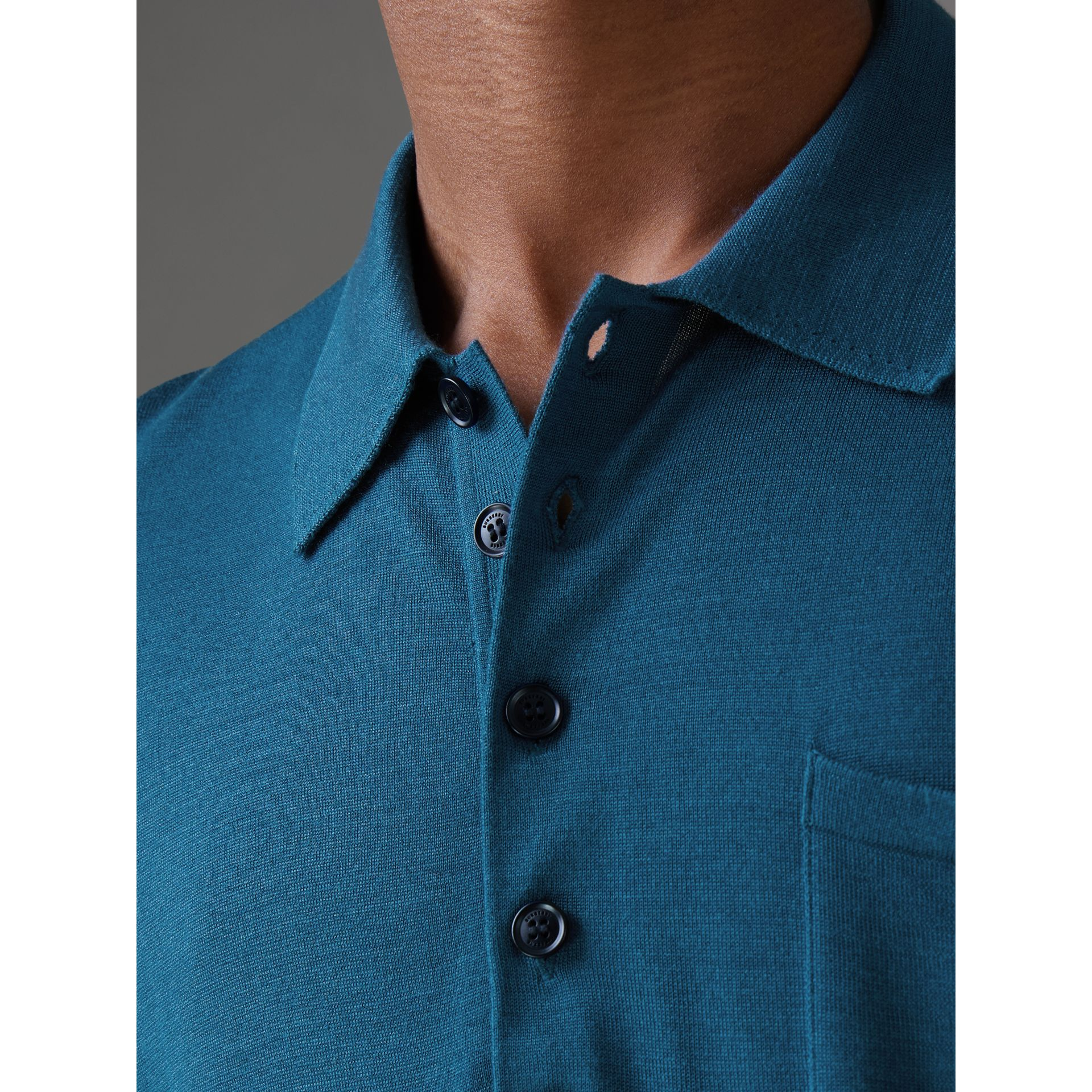 Knitted Silk Polo Shirt in Dark Teal Blue - Men | Burberry - gallery image 1