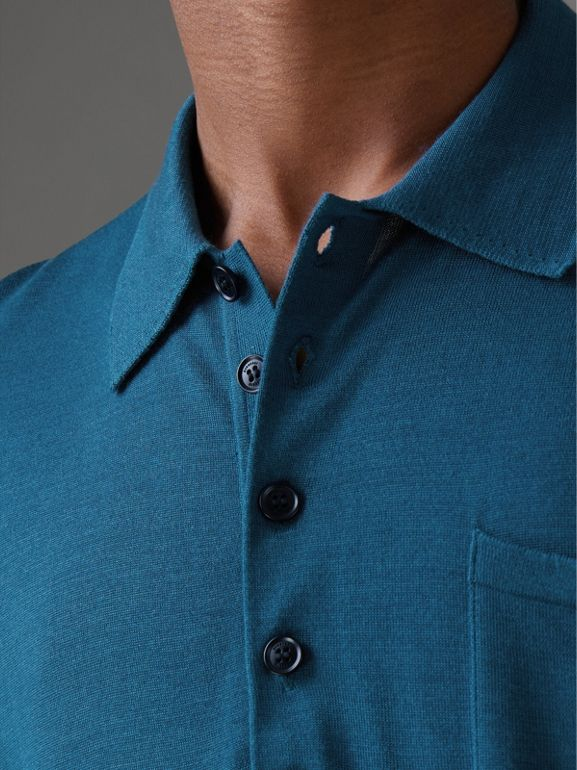 Knitted Silk Polo Shirt in Dark Teal Blue - Men | Burberry - cell image 1