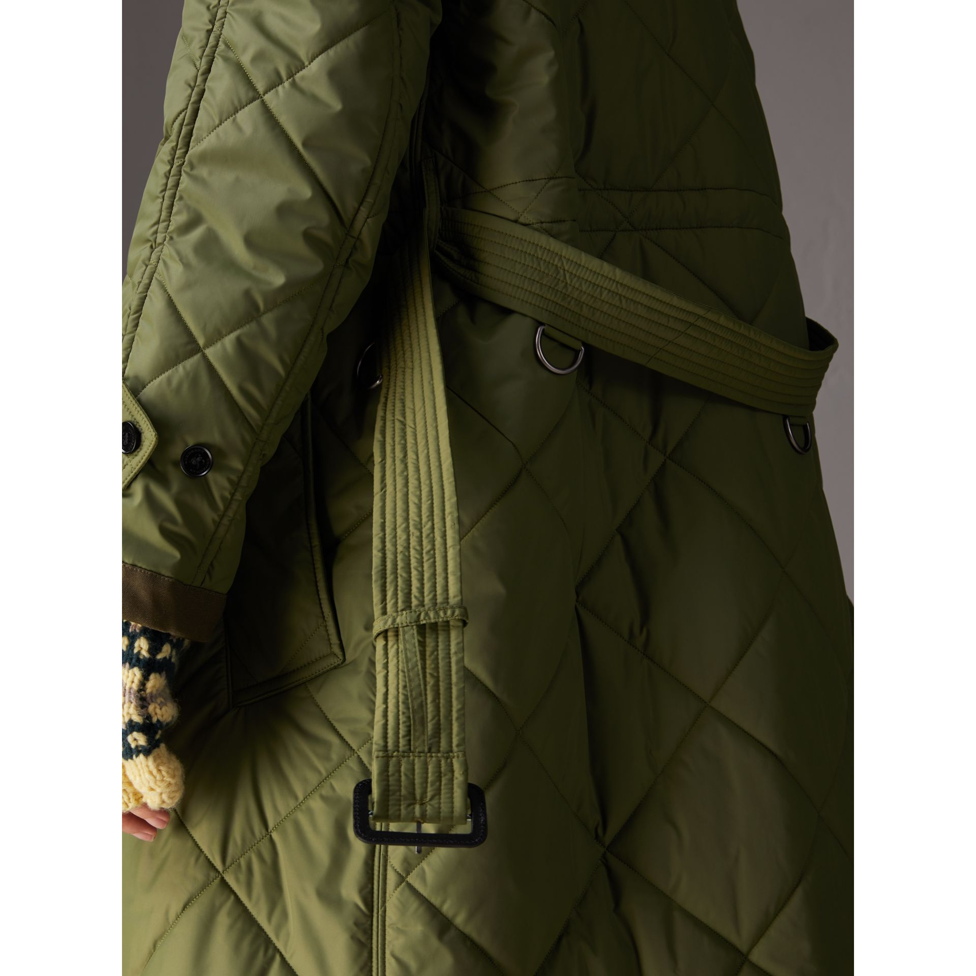 Packaway Hood Diamond Quilted Coat in Olive Green - Women | Burberry Singapore - gallery image 4