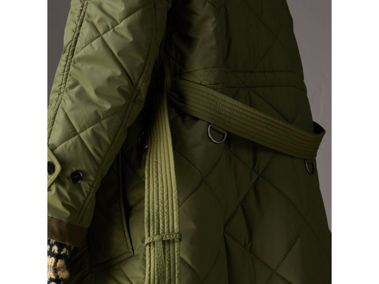 Packaway Hood Diamond Quilted Coat in Olive Green - Women | Burberry - cell image 4