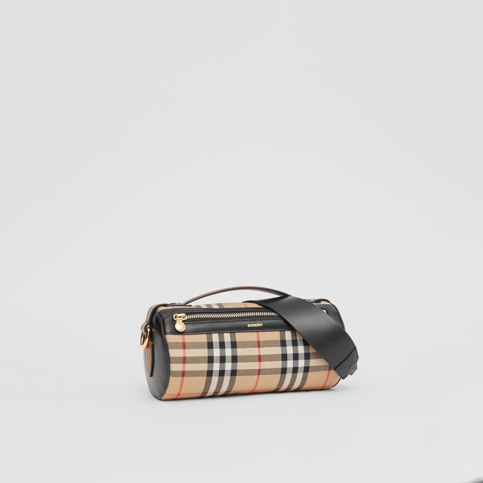 The Vintage Check and Leather Barrel Bag in Archive Beige/black - Women | Burberry Canada - gallery image 6