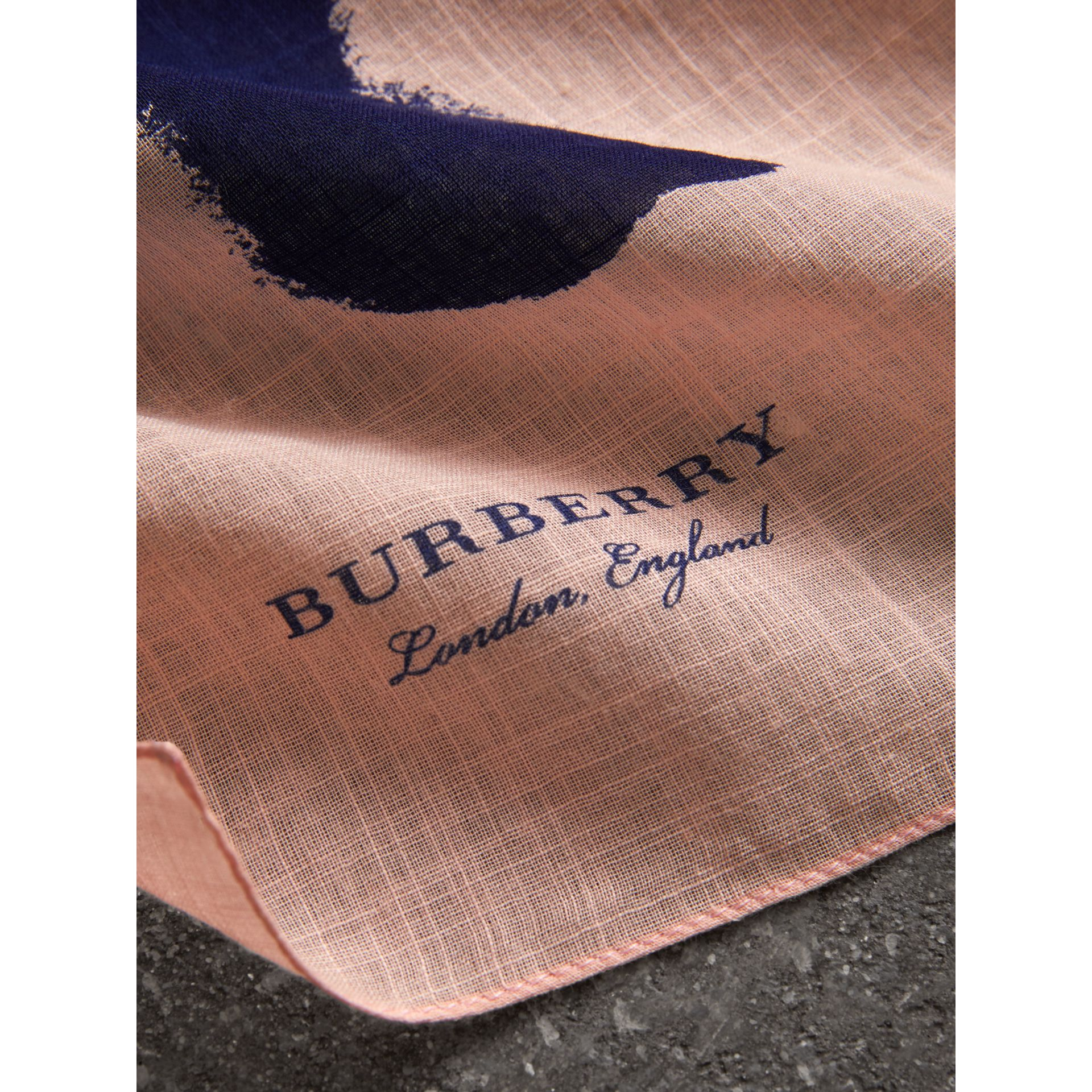 Bird Print Cotton Scarf in Apricot Pink | Burberry - gallery image 1