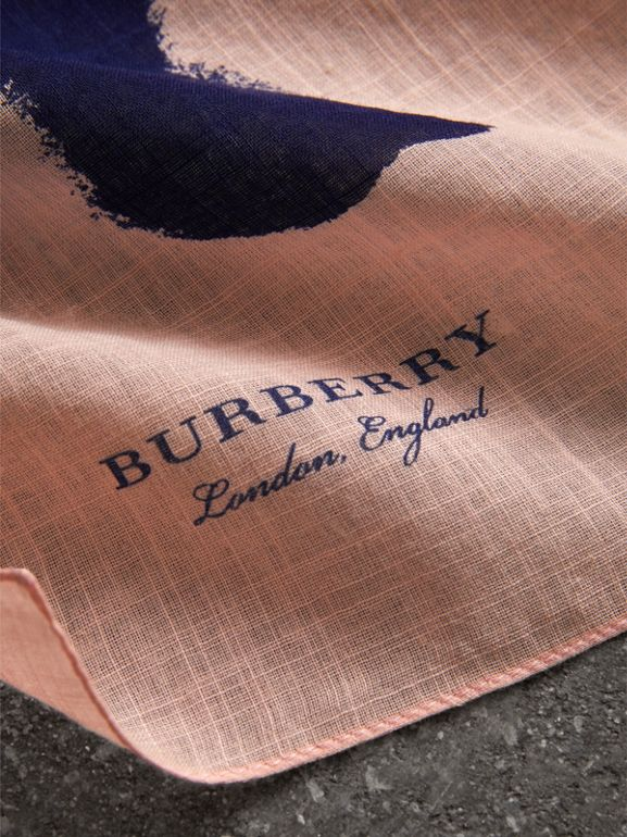 Bird Print Cotton Scarf in Apricot Pink | Burberry - cell image 1