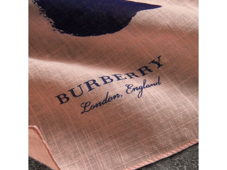 Bird Print Cotton Scarf in Apricot Pink | Burberry Singapore - cell image 1