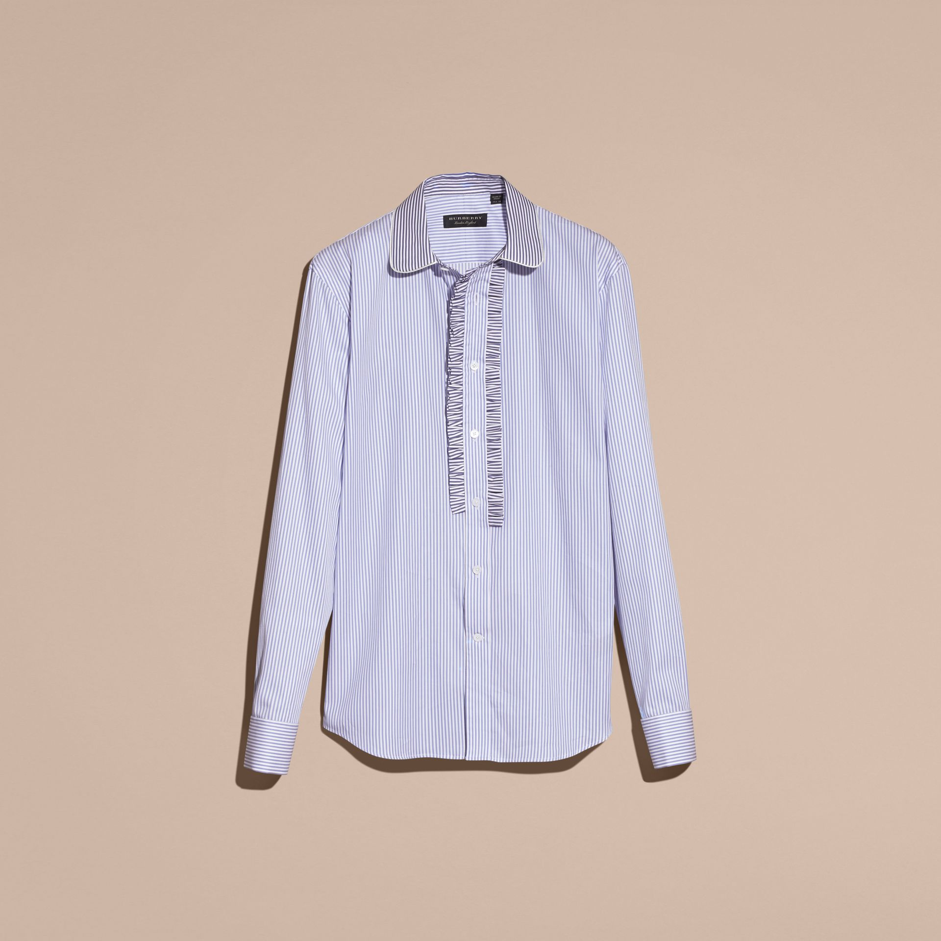 Ruffle Placket Striped Cotton Shirt - gallery image 3
