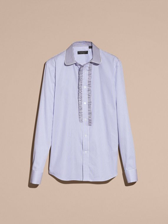 Hydrangea blue Ruffle Placket Striped Cotton Shirt - cell image 2