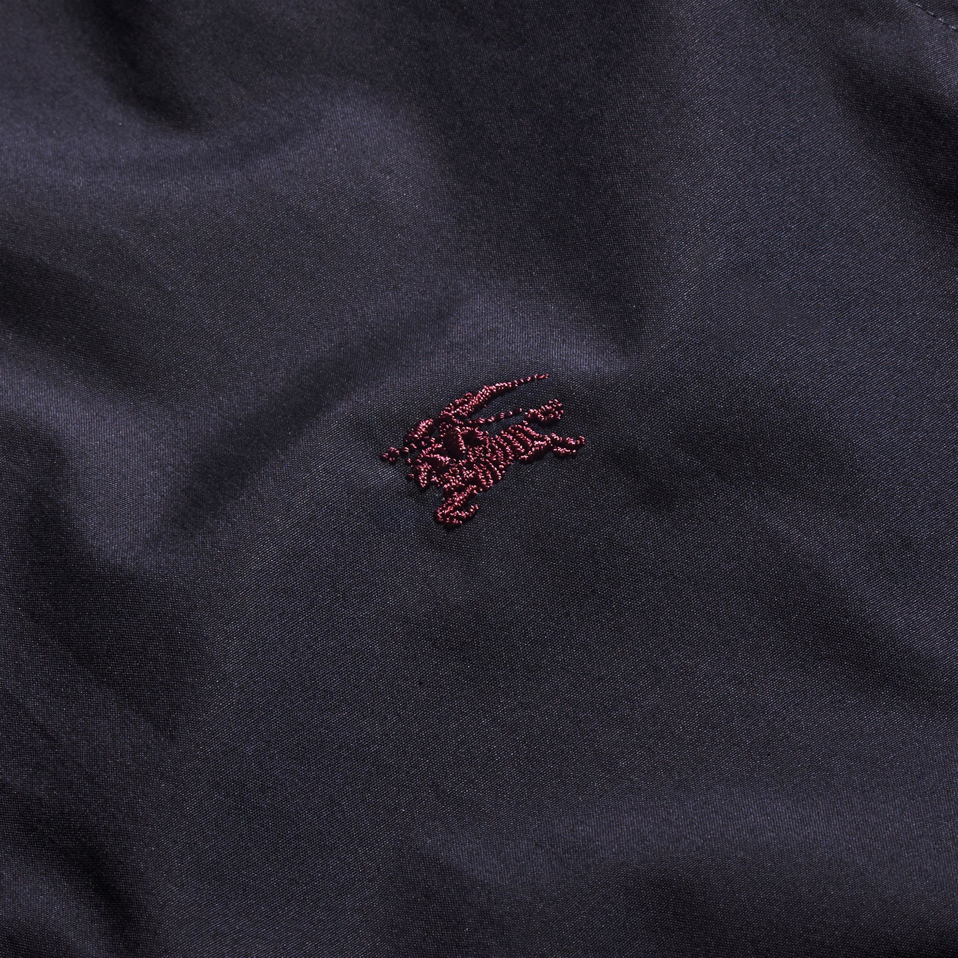 Check Detail Stretch Cotton Shirt Navy - gallery image 2