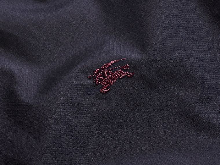 Check Detail Stretch Cotton Shirt Navy - cell image 1