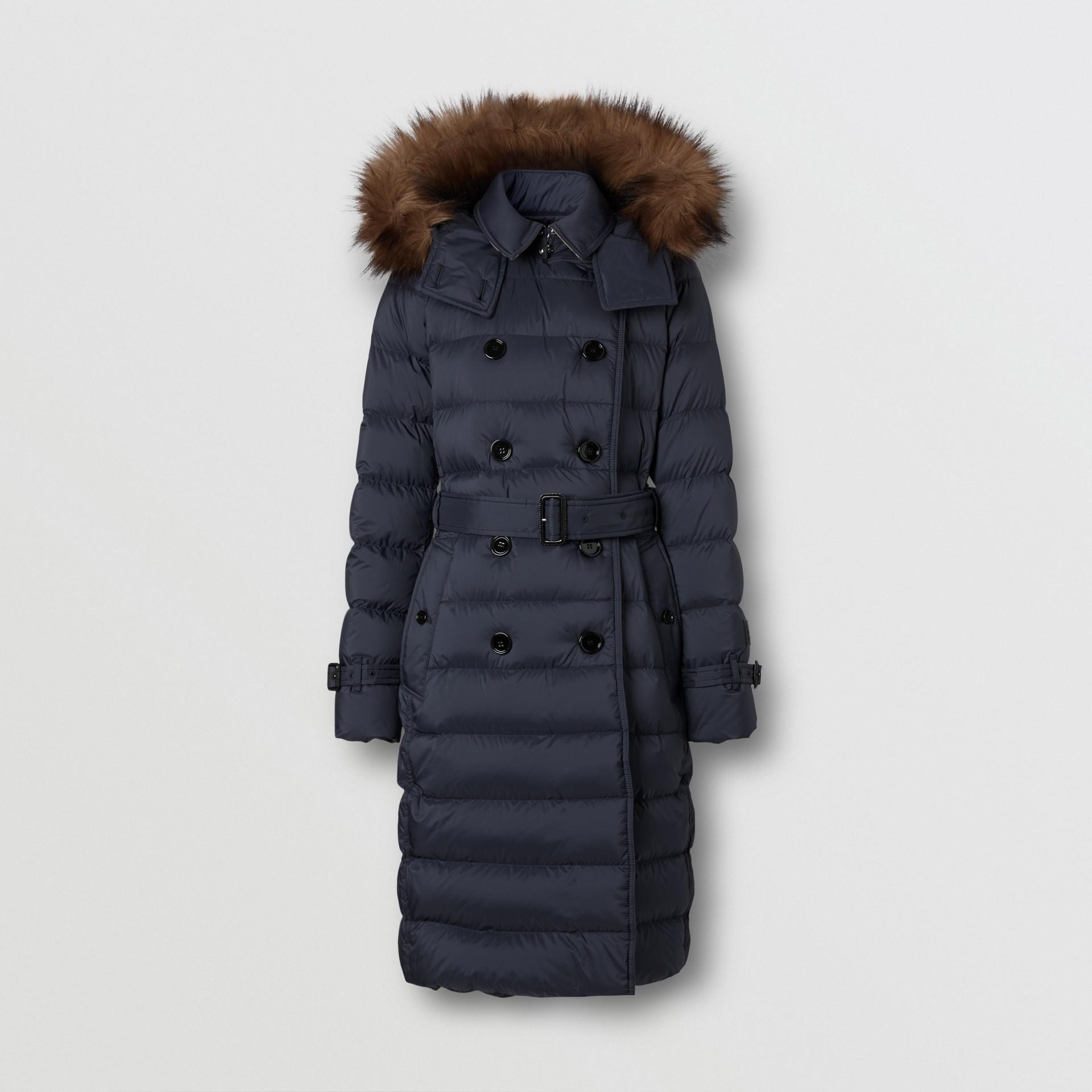 Detachable Hood Down-filled Coat in Navy - Women | Burberry - gallery image 3