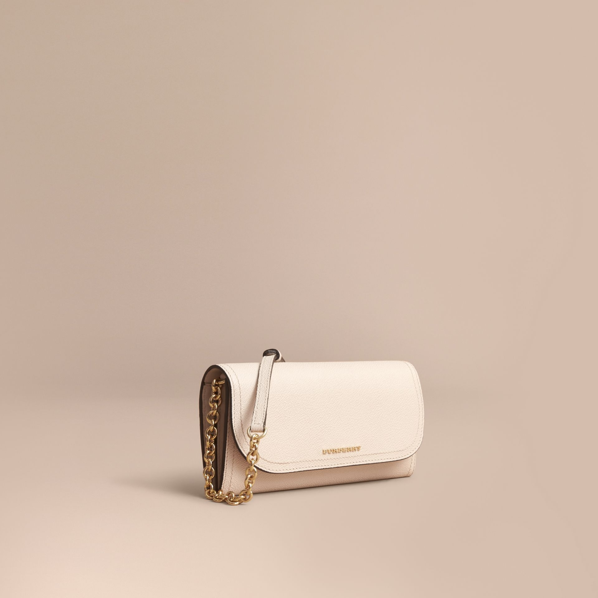 Leather Wallet with Chain in Limestone - Women | Burberry - gallery image 1