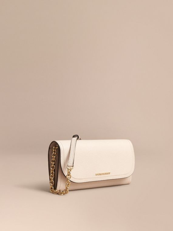 Leather Wallet with Chain in Limestone - Women | Burberry Singapore