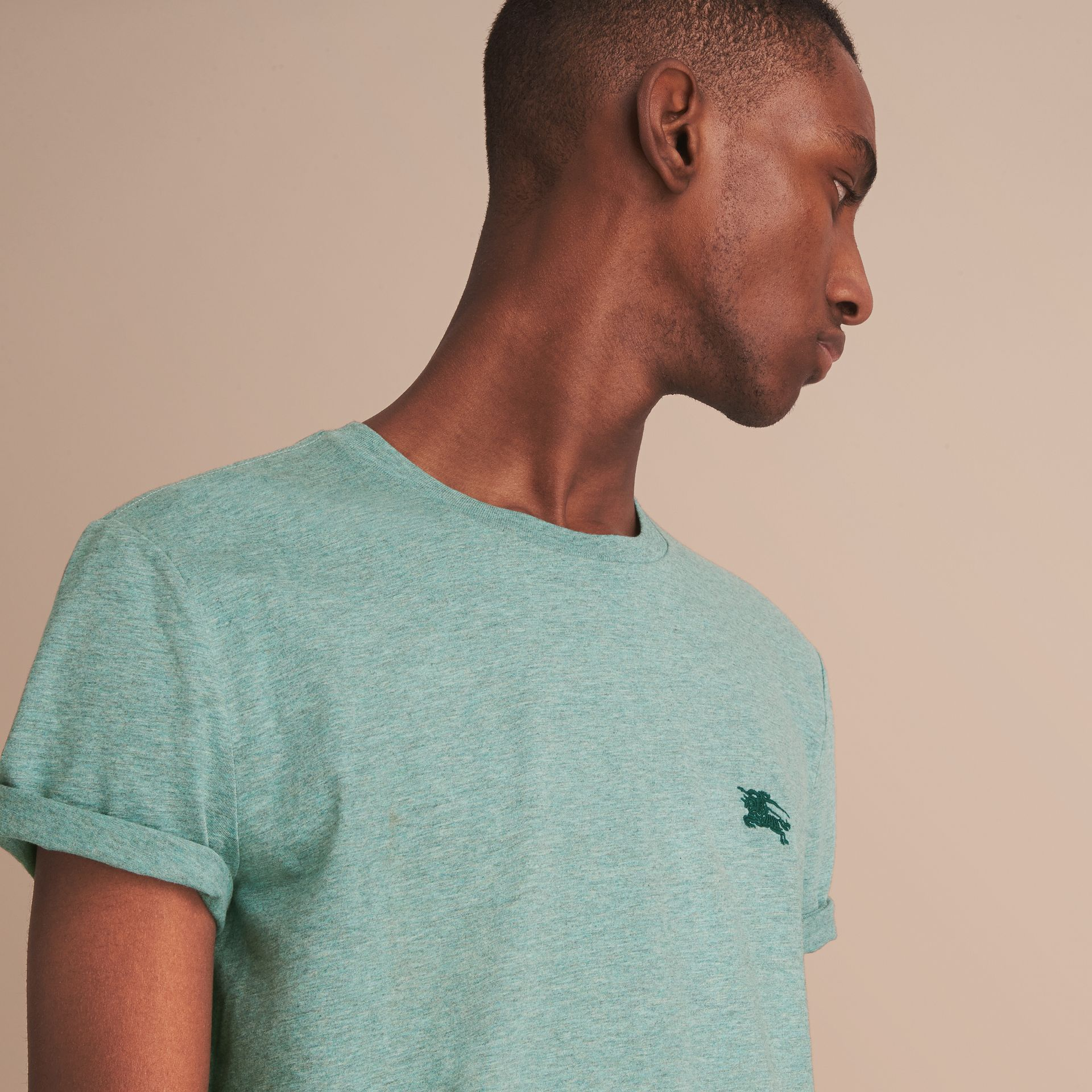 Cotton Jersey T-shirt in Storm Green Melange - Men | Burberry - gallery image 5
