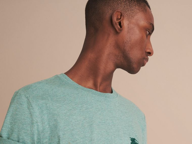 Cotton Jersey T-shirt in Storm Green Melange - Men | Burberry - cell image 4