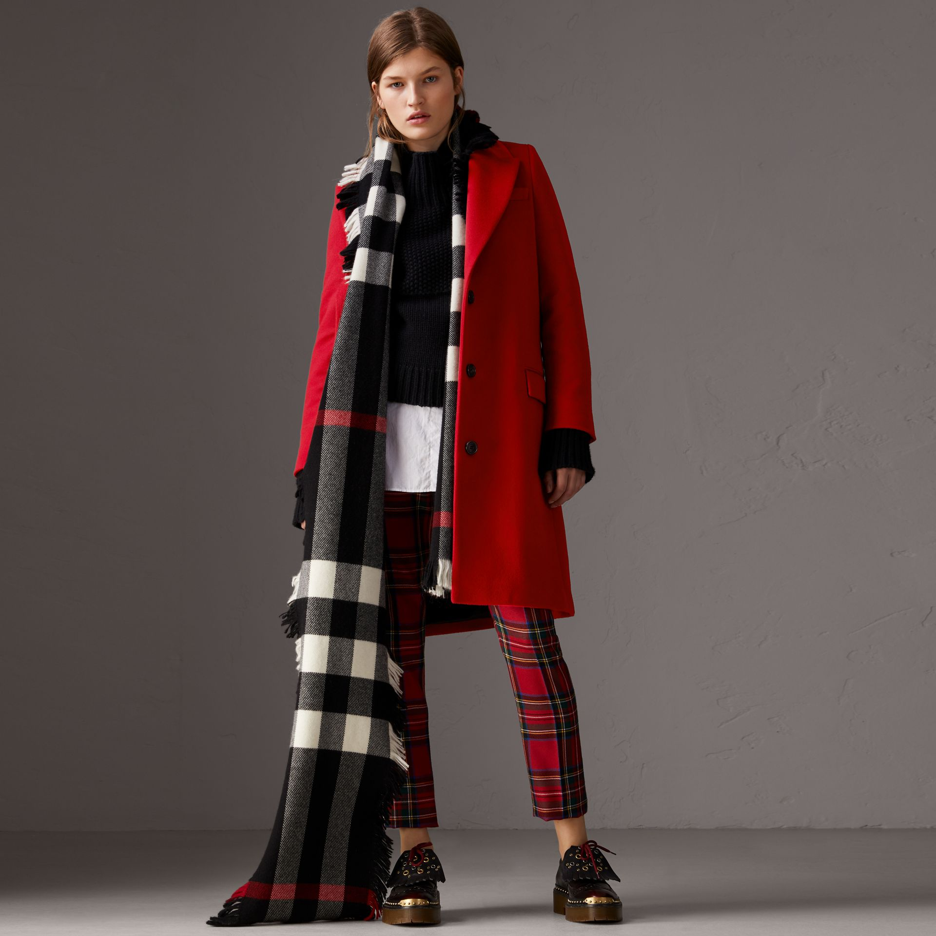 Wool Cashmere Tailored Coat in Parade Red - Women | Burberry Singapore - gallery image 0