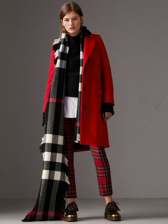 Wool Cashmere Tailored Coat in Parade Red