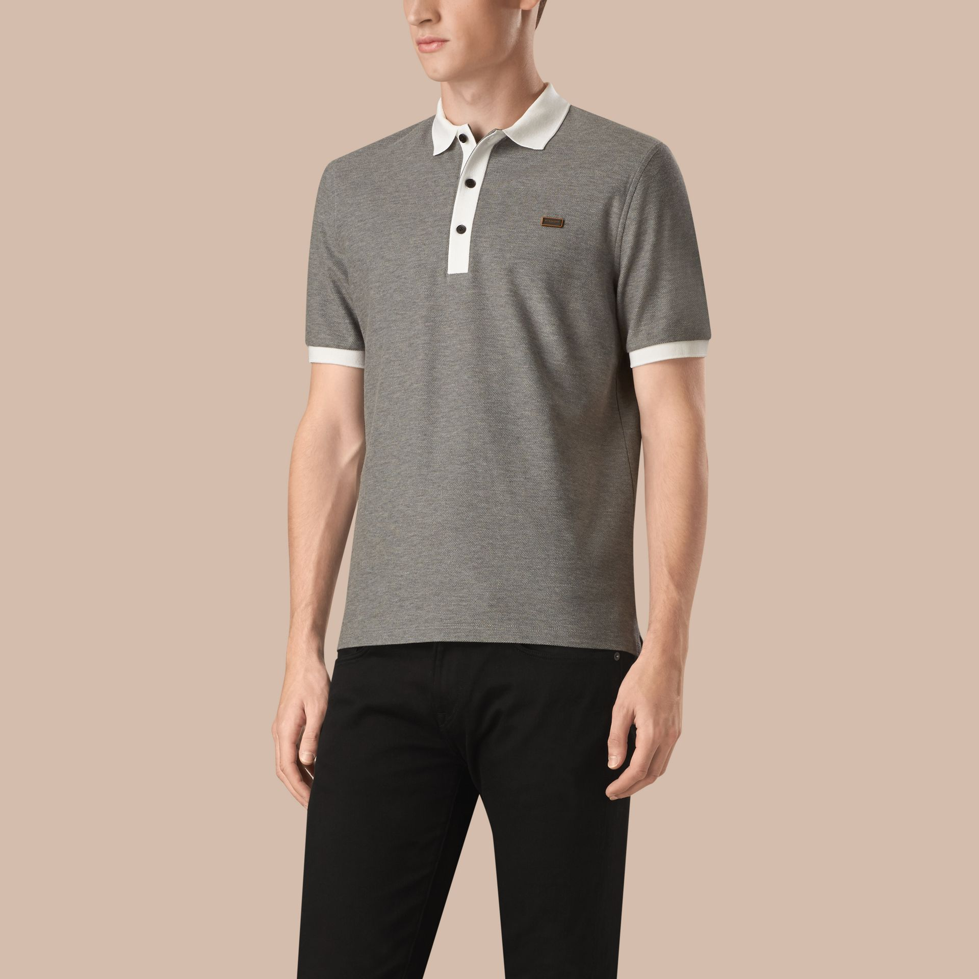Mid grey melange/white Mercerised Cotton Piqué Polo Shirt Mid Grey Melange/white - gallery image 1