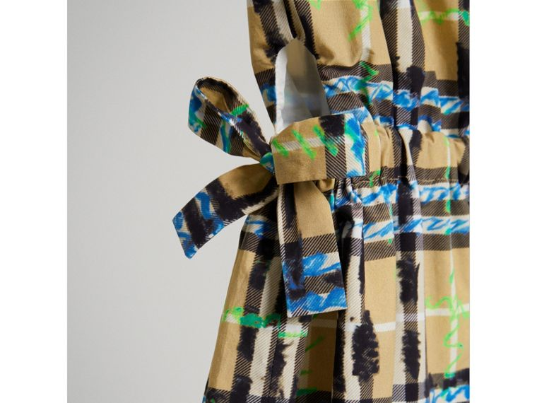 Tie-detail Scribble Check Cotton Dress in Bright Blue - Girl | Burberry - cell image 4