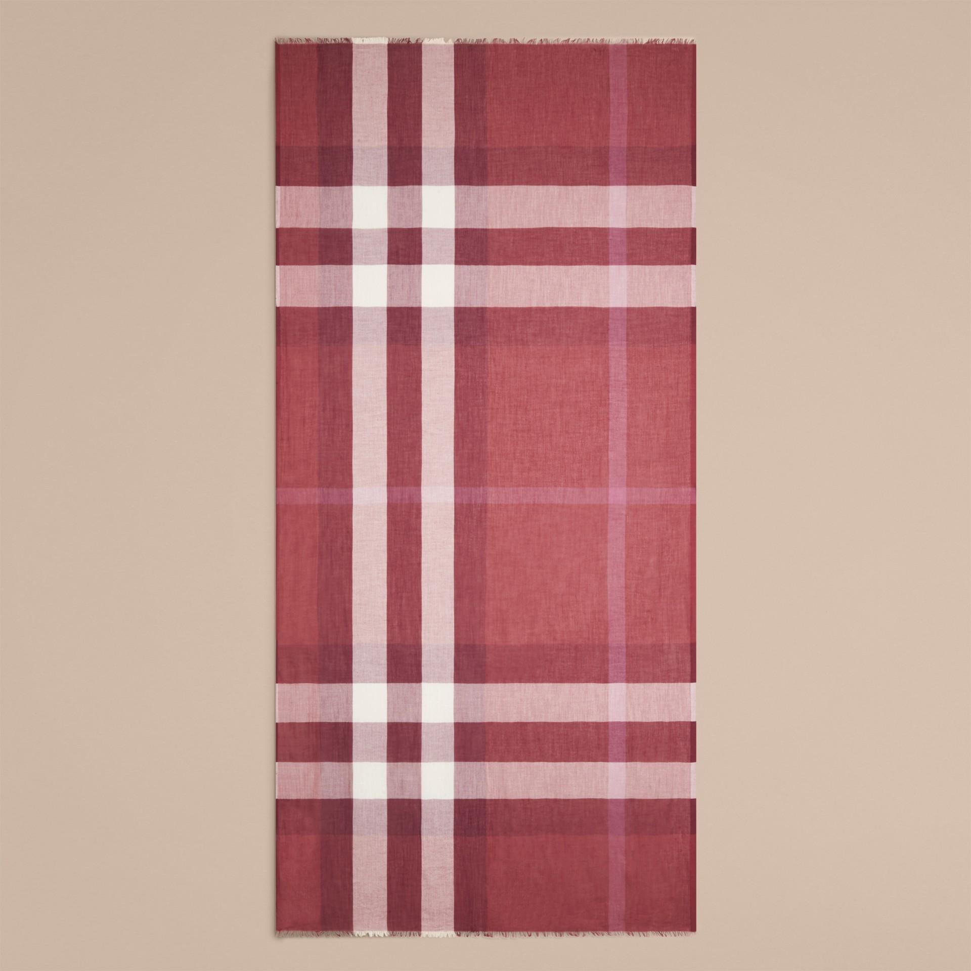 Rosa granato Sciarpa in modal, cashmere e seta con motivo check Rosa Granato - immagine della galleria 4