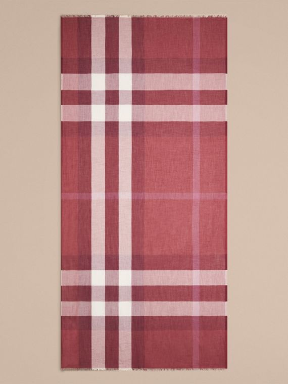 Garnet pink Check Modal Cashmere and Silk Scarf Garnet Pink - cell image 3