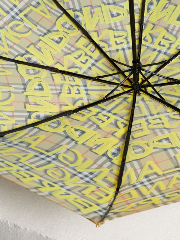 Graffiti Vintage Check Print Folding Umbrella in Yellow | Burberry - cell image 3