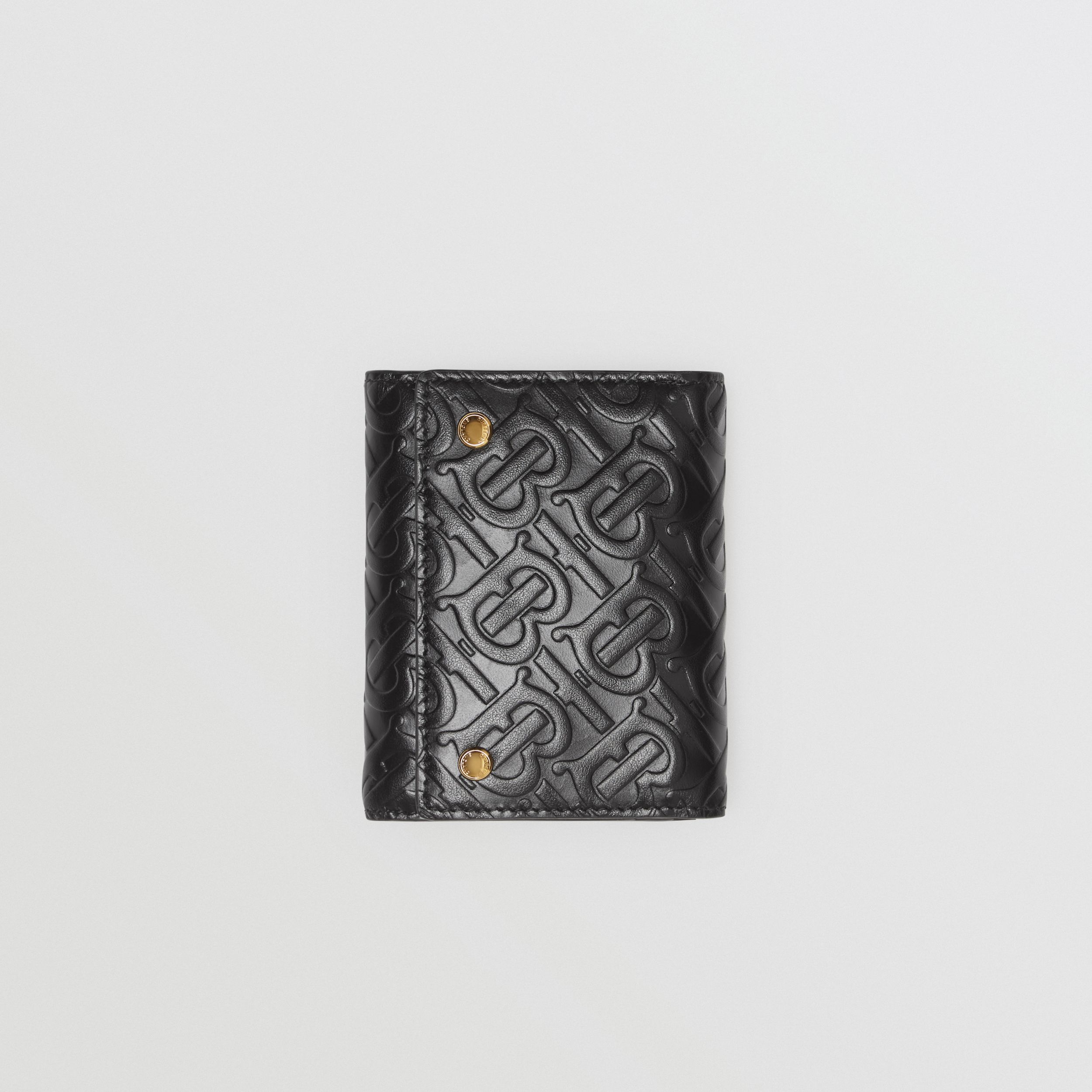Small Monogram Leather Folding Wallet in Black - Men | Burberry - 4