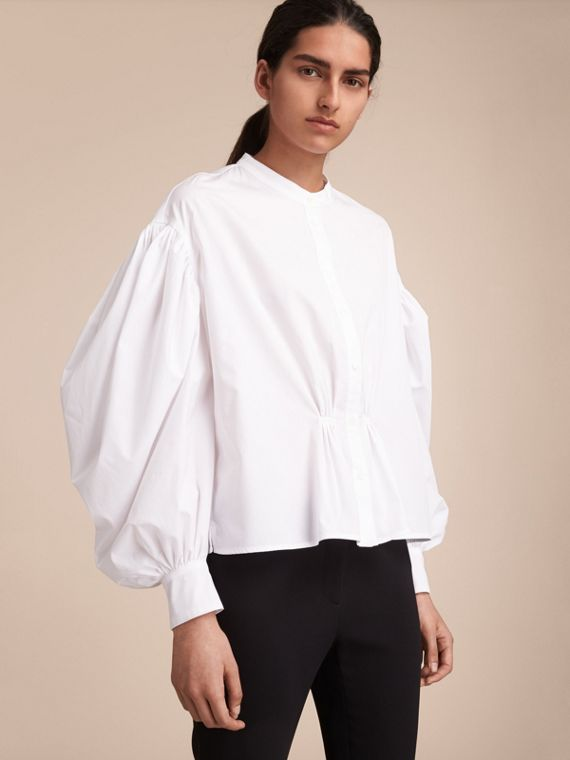 Puff-sleeve Cotton Shirt
