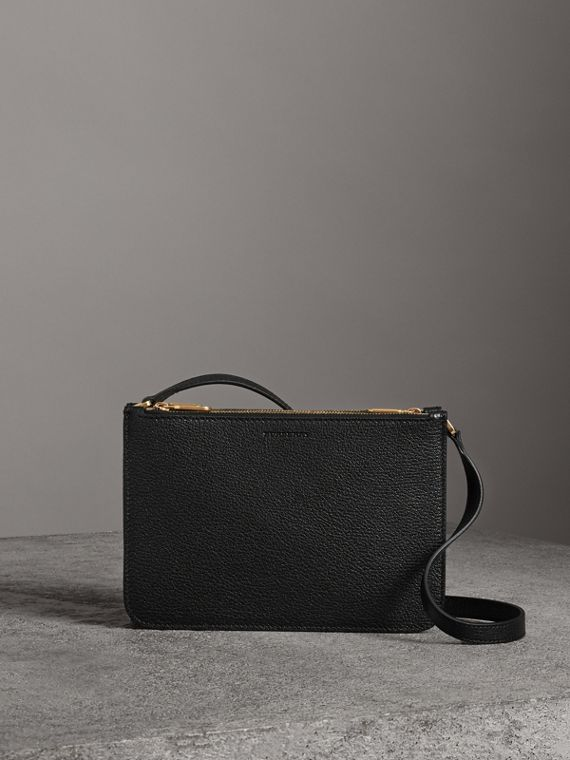 Triple Zip Grainy Leather Crossbody Bag in Black/gold