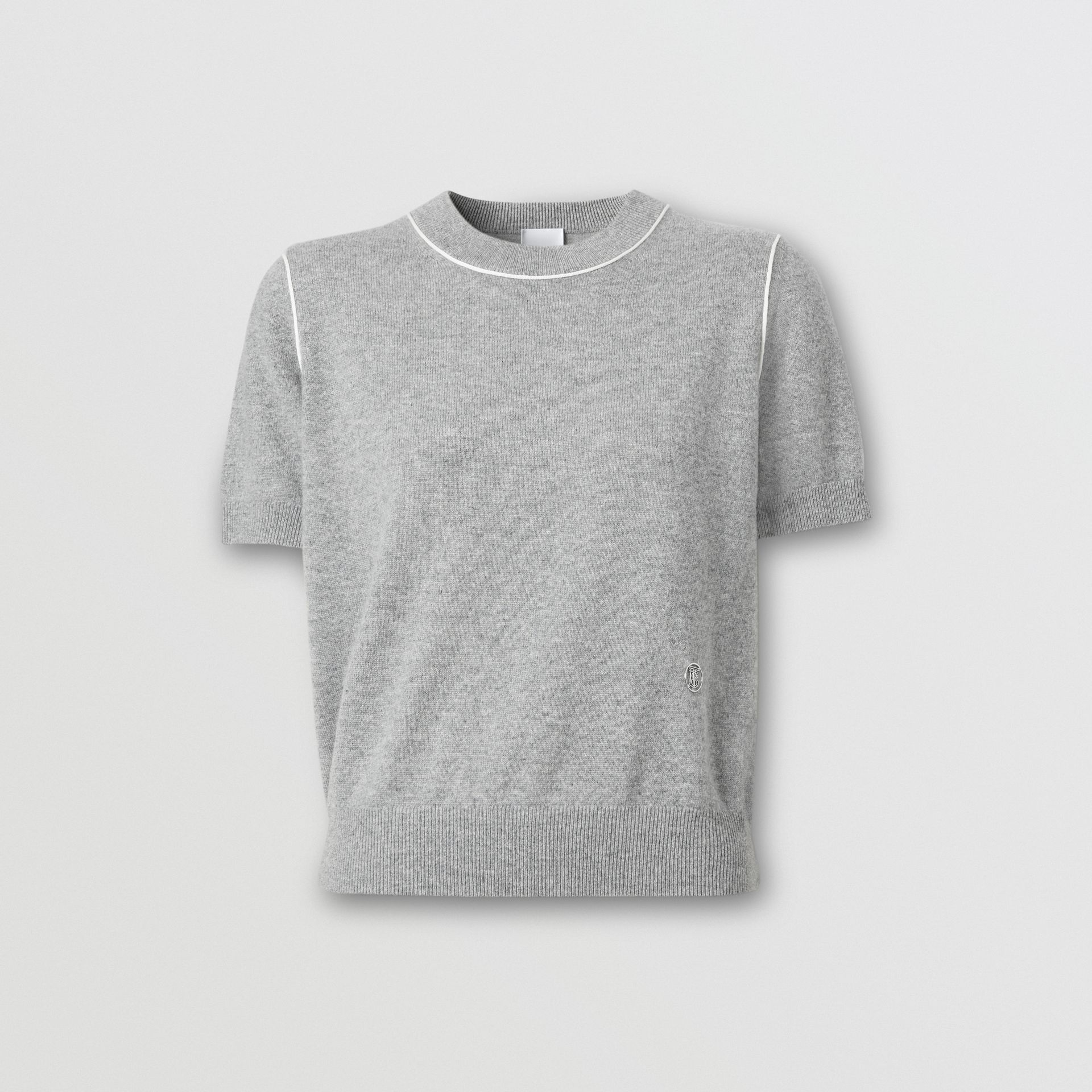 Short-sleeve Monogram Motif Cashmere Top in Grey Melange - Women | Burberry Australia - gallery image 3
