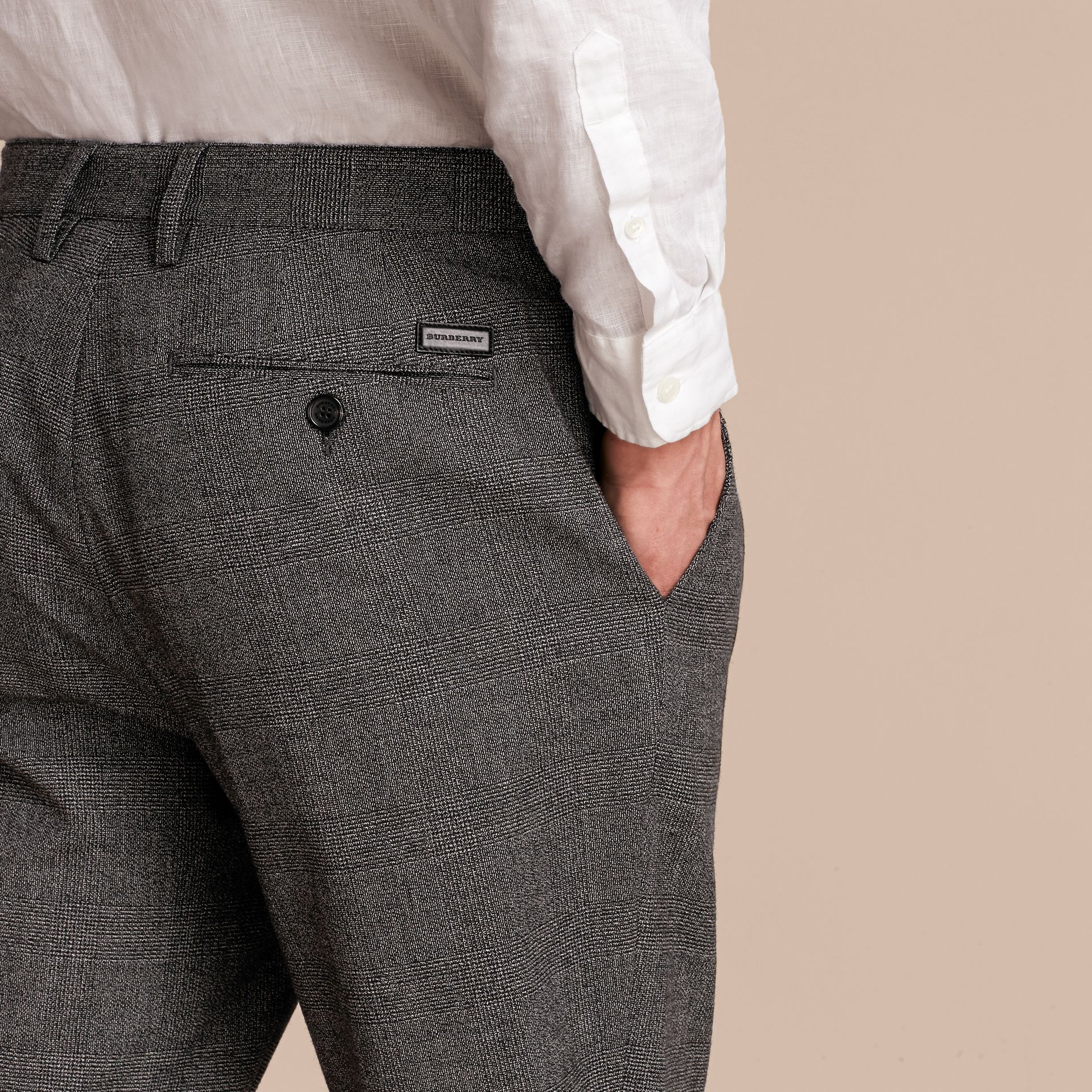 Prince of Wales Cotton Wool Trousers with Knit Cuffs - gallery image 5