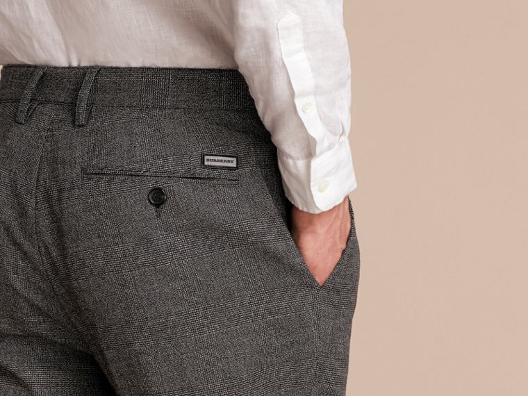 Prince of Wales Cotton Wool Trousers with Knit Cuffs - cell image 4