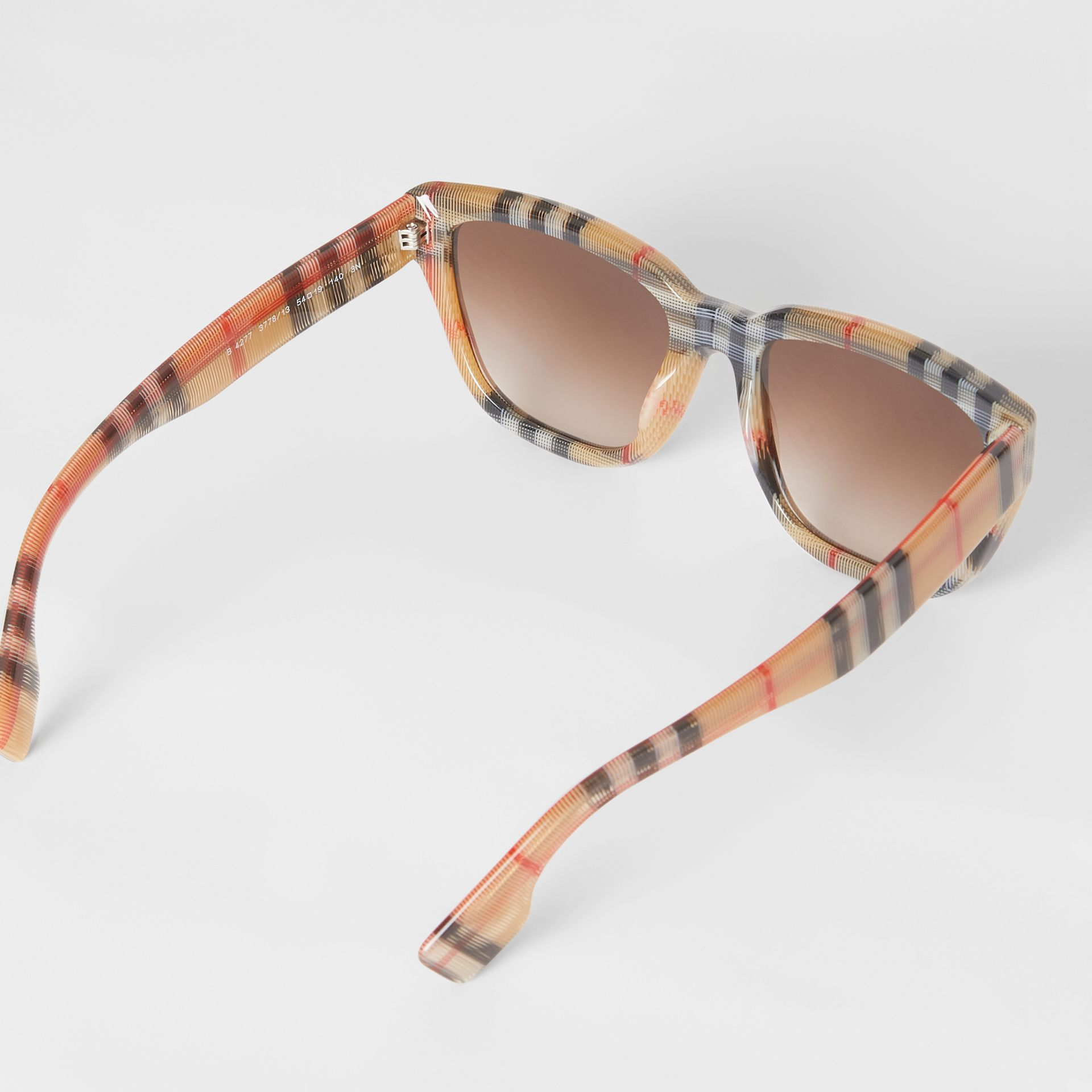 Vintage Check Detail Square Frame Sunglasses in Antique Yellow - Women | Burberry Singapore - gallery image 3