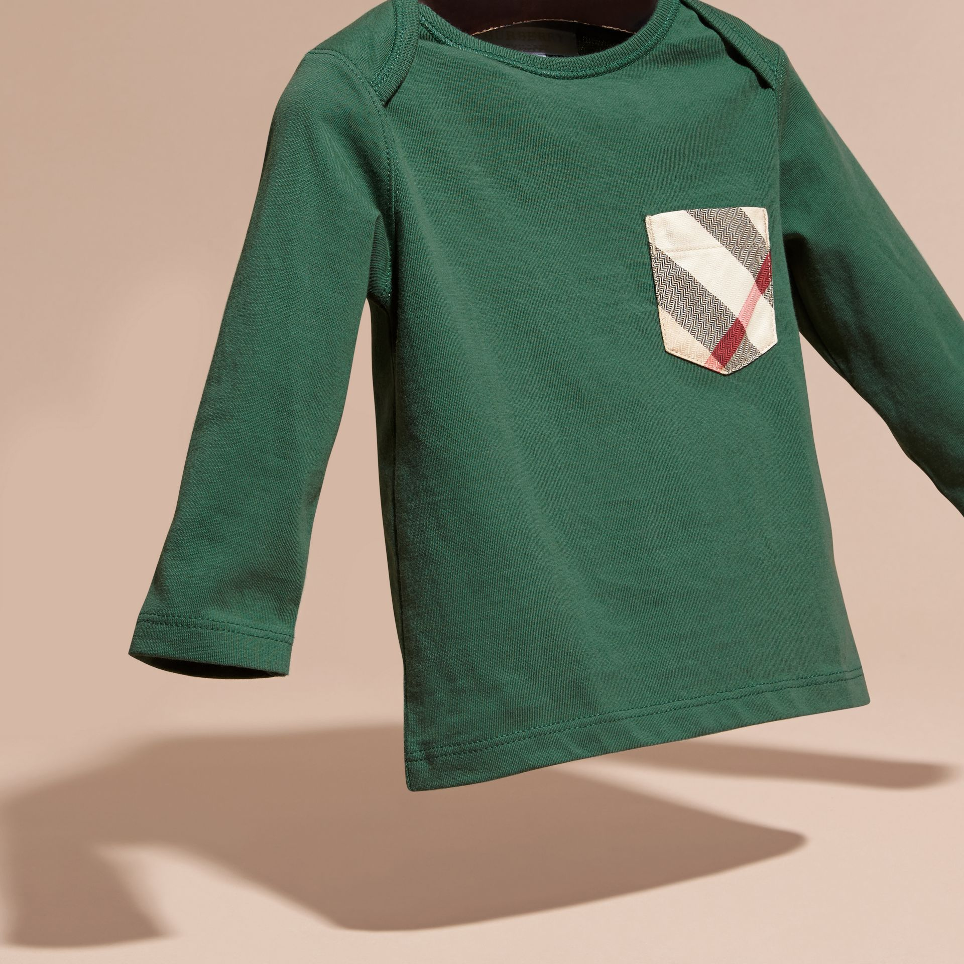 Forest green Check Pocket Long Sleeve T-Shirt Forest Green - gallery image 3