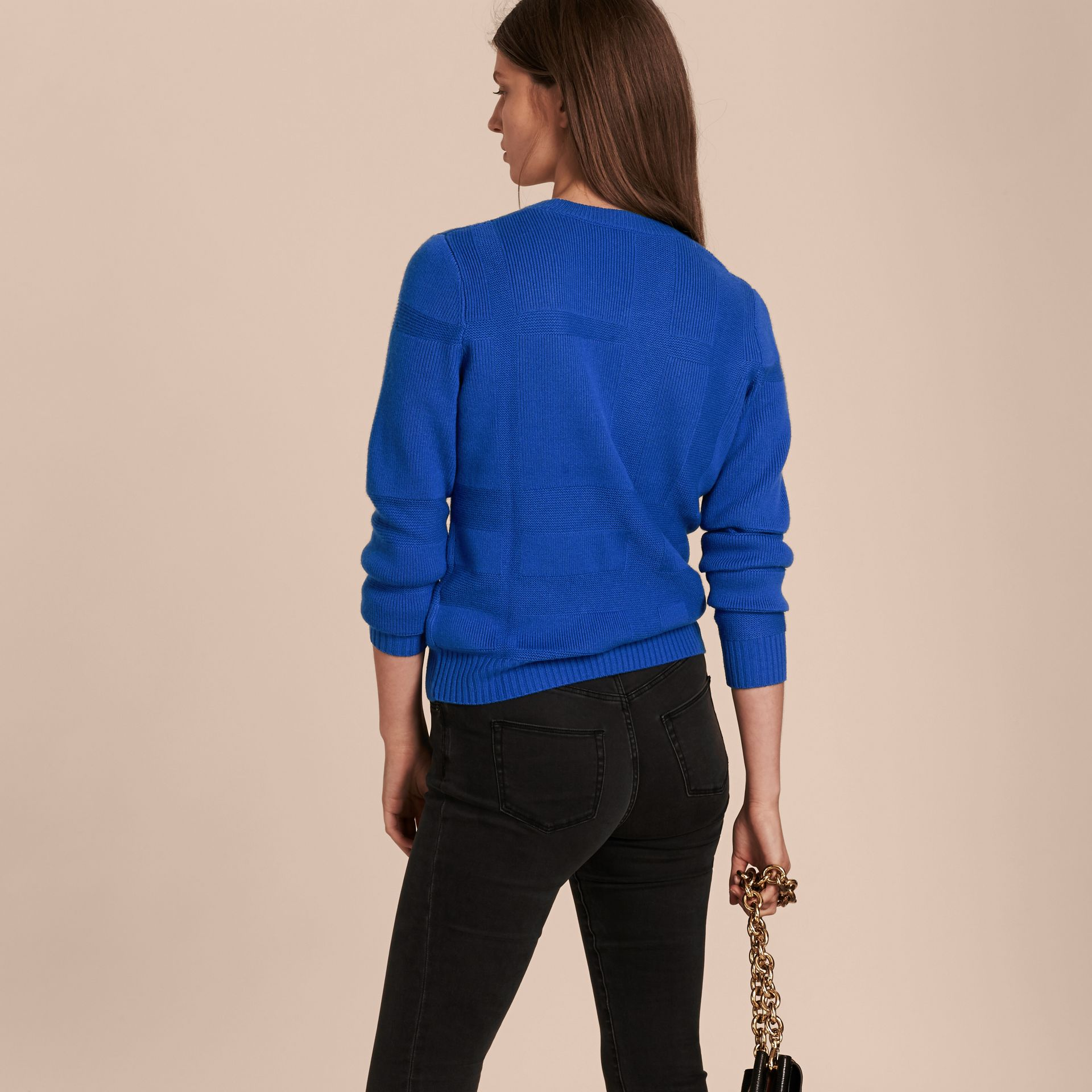 Check-knit Wool Cashmere Sweater in Sapphire Blue - gallery image 3