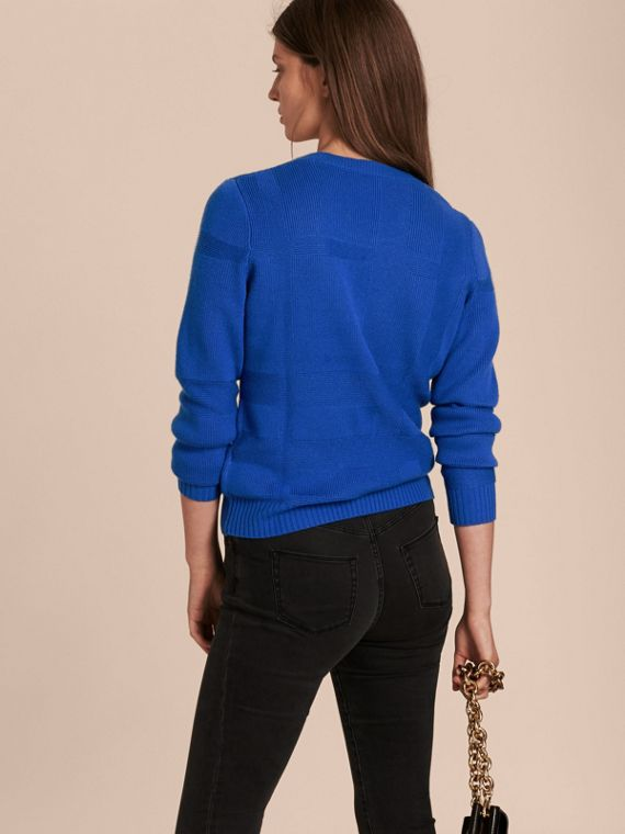 Check-knit Wool Cashmere Sweater in Sapphire Blue - cell image 2