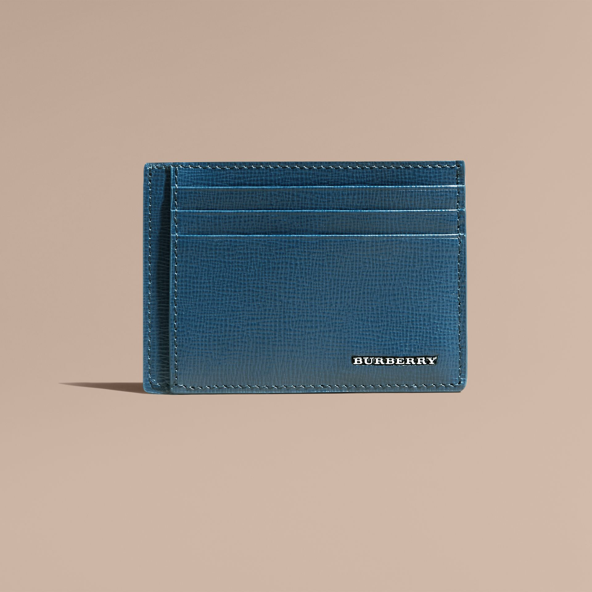 London Leather Card Case in Mineral Blue - gallery image 2