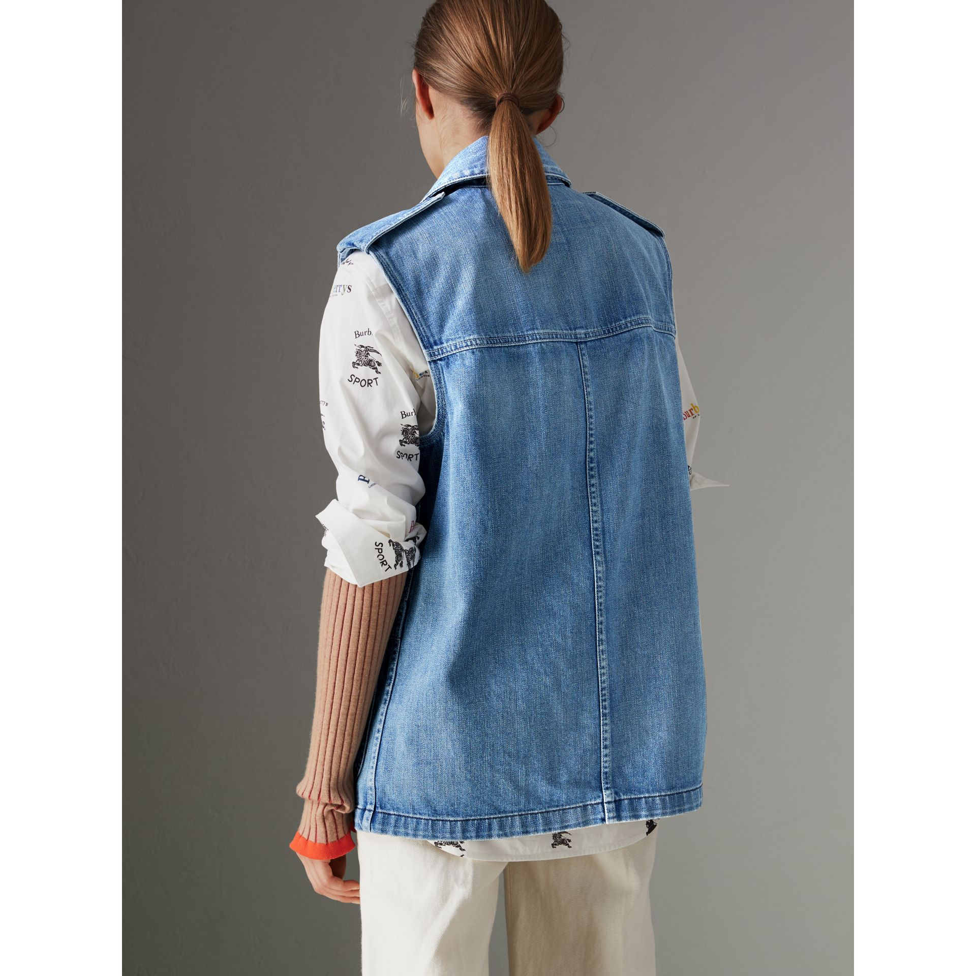Sleeveless Japanese Denim Jacket in Steel Blue - Women | Burberry - gallery image 2