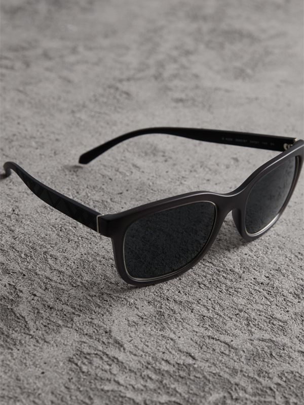 Embossed Check Detail Square Frame Sunglasses in Dark Grey - Men | Burberry - cell image 2