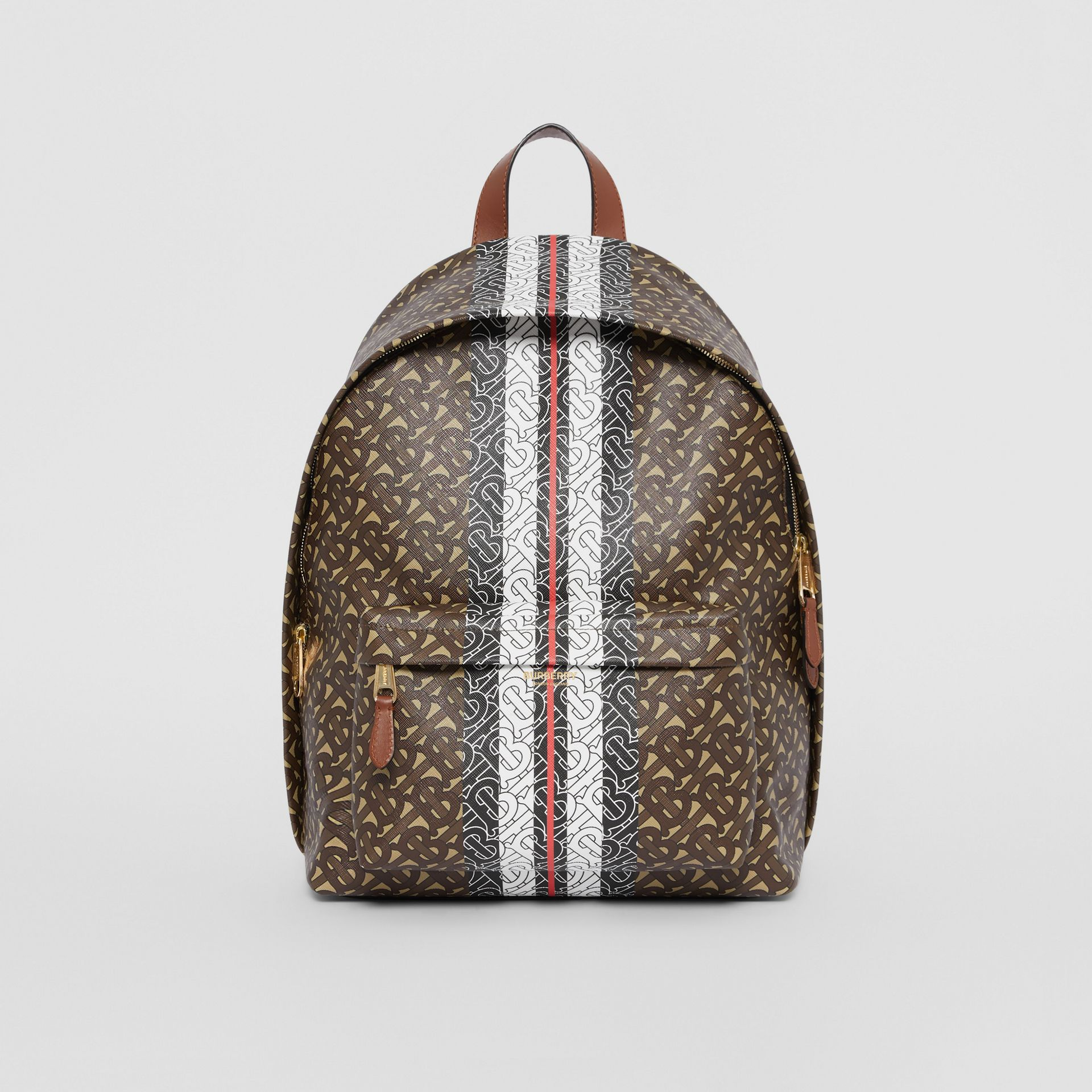 Monogram Stripe Print E-canvas Backpack in Bridle Brown | Burberry Australia - gallery image 0