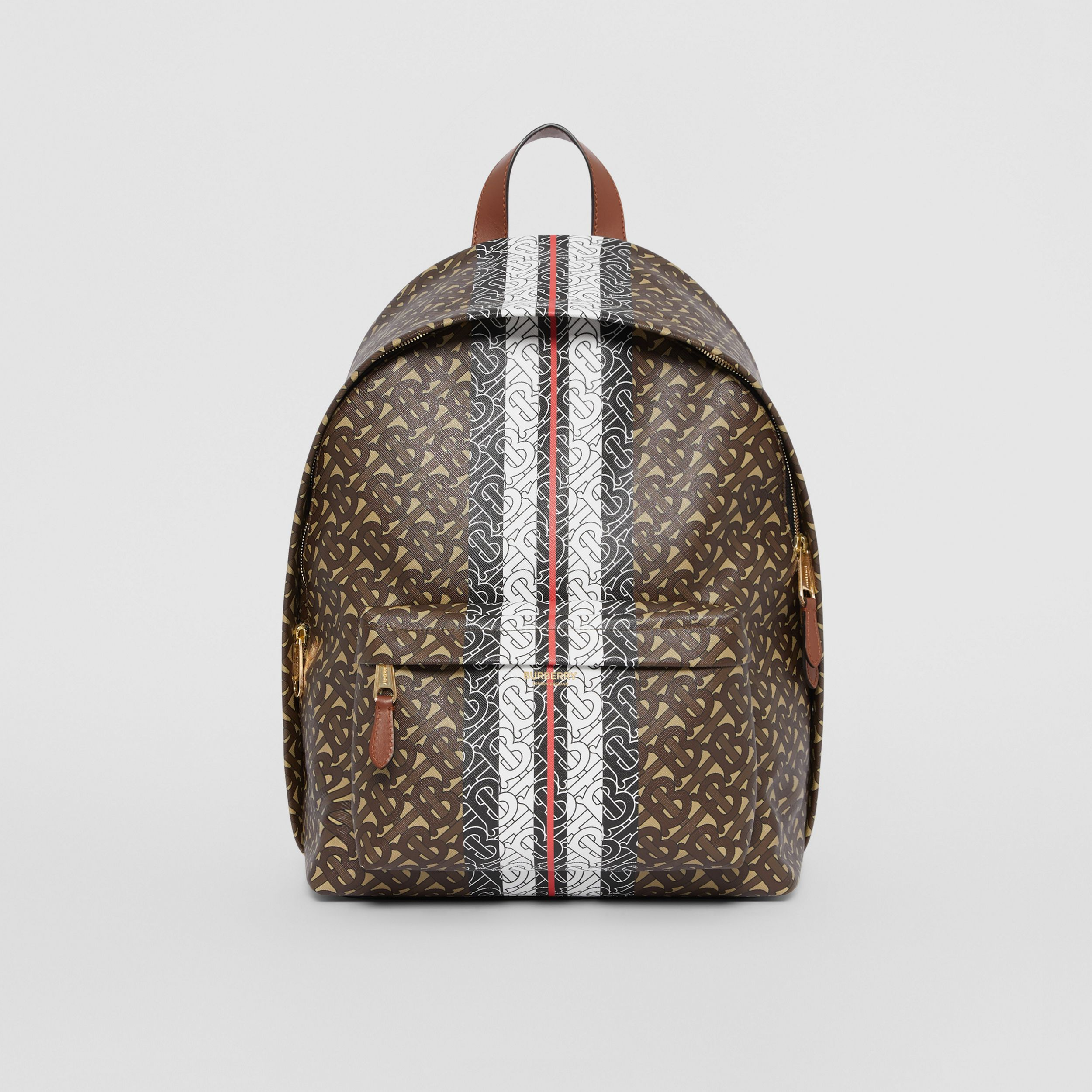 Monogram Stripe Print E-canvas Backpack in Bridle Brown | Burberry United Kingdom - 1