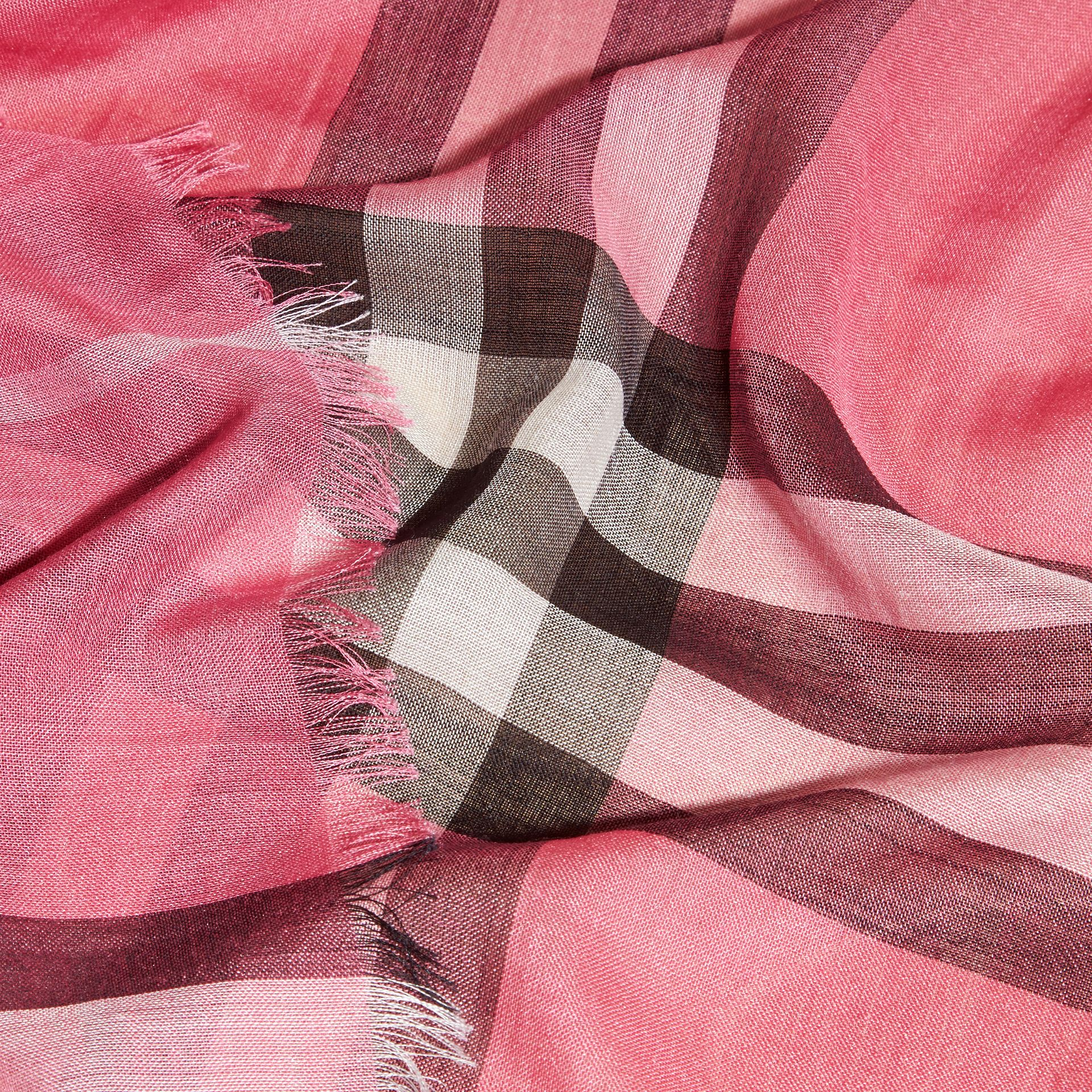 Lightweight Check Wool and Silk Scarf in Rose Pink - gallery image 2