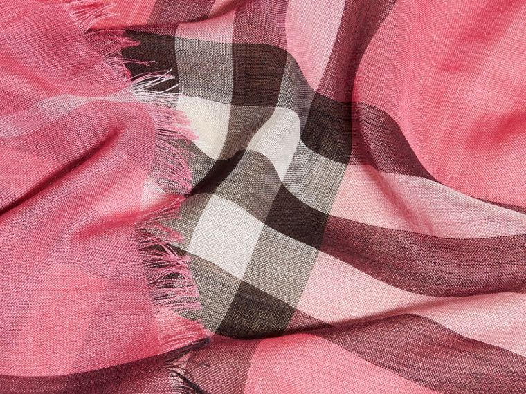 Lightweight Check Wool and Silk Scarf in Rose Pink - cell image 1