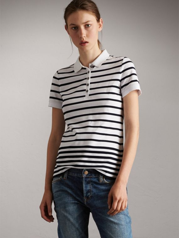 Striped Stretch Cotton Piqué Polo Shirt in White/navy