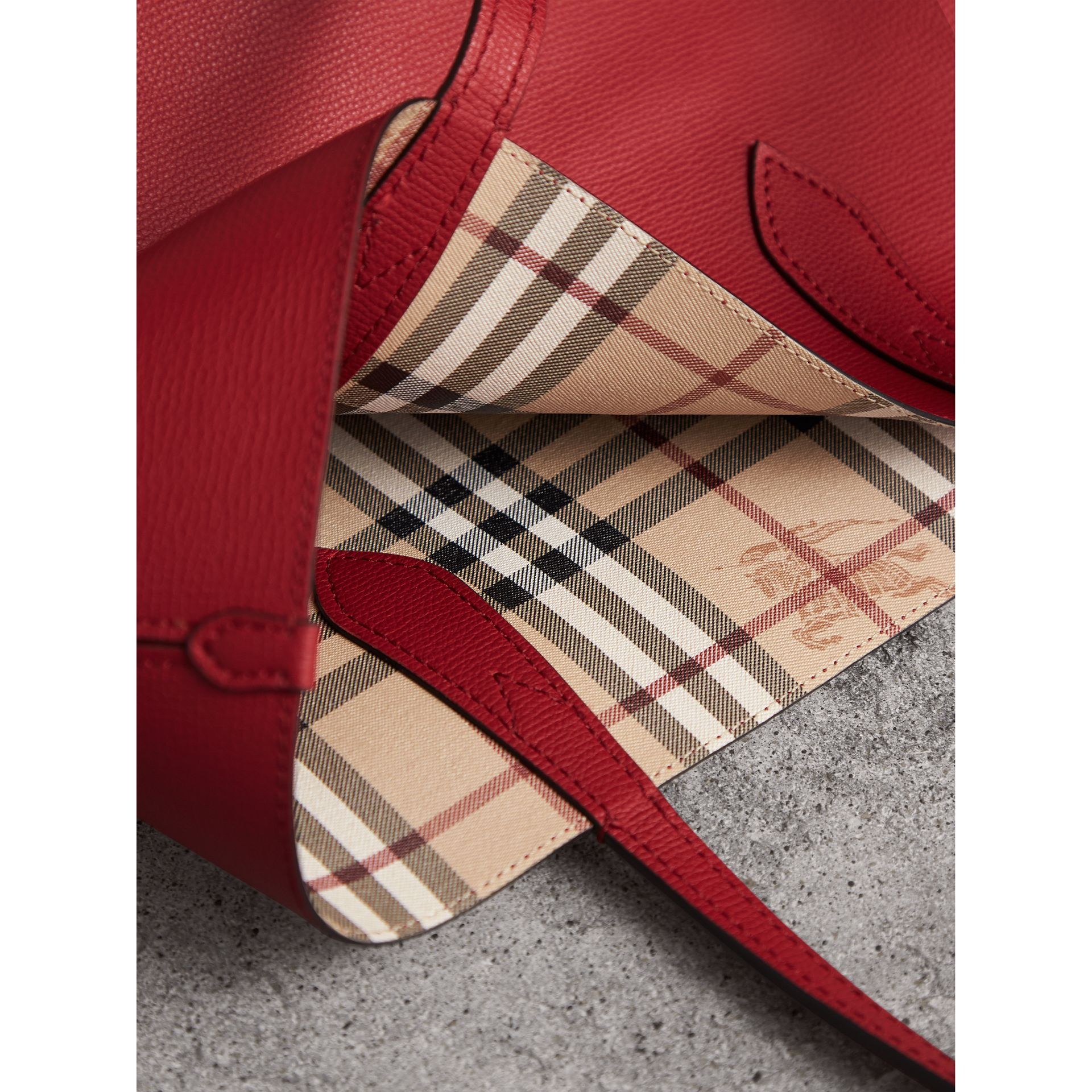 The Small Reversible Tote in Haymarket Check and Leather in Poppy Red - Women | Burberry Australia - gallery image 2