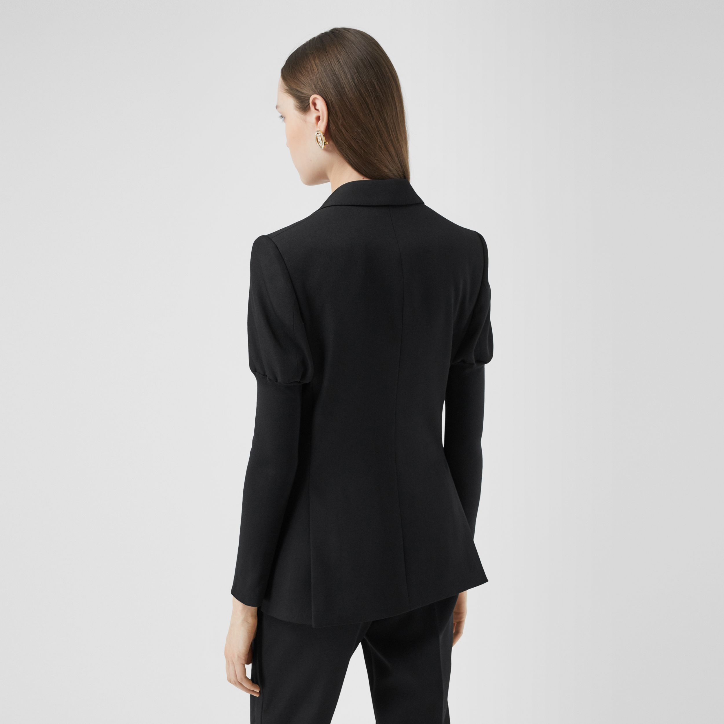 Panelled-sleeve Grain De Poudre Wool Blazer in Black - Women | Burberry - 3