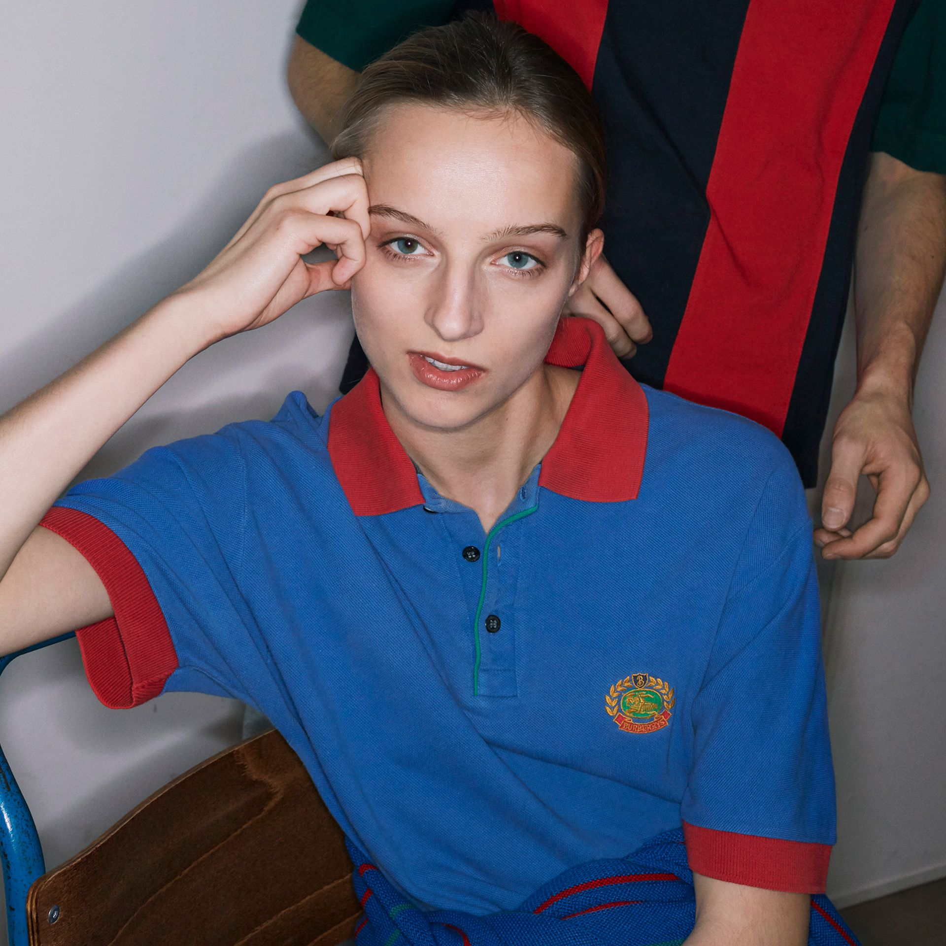 Reissued Cotton Polo Shirt in Cornflower Blue - Women | Burberry - gallery image 4