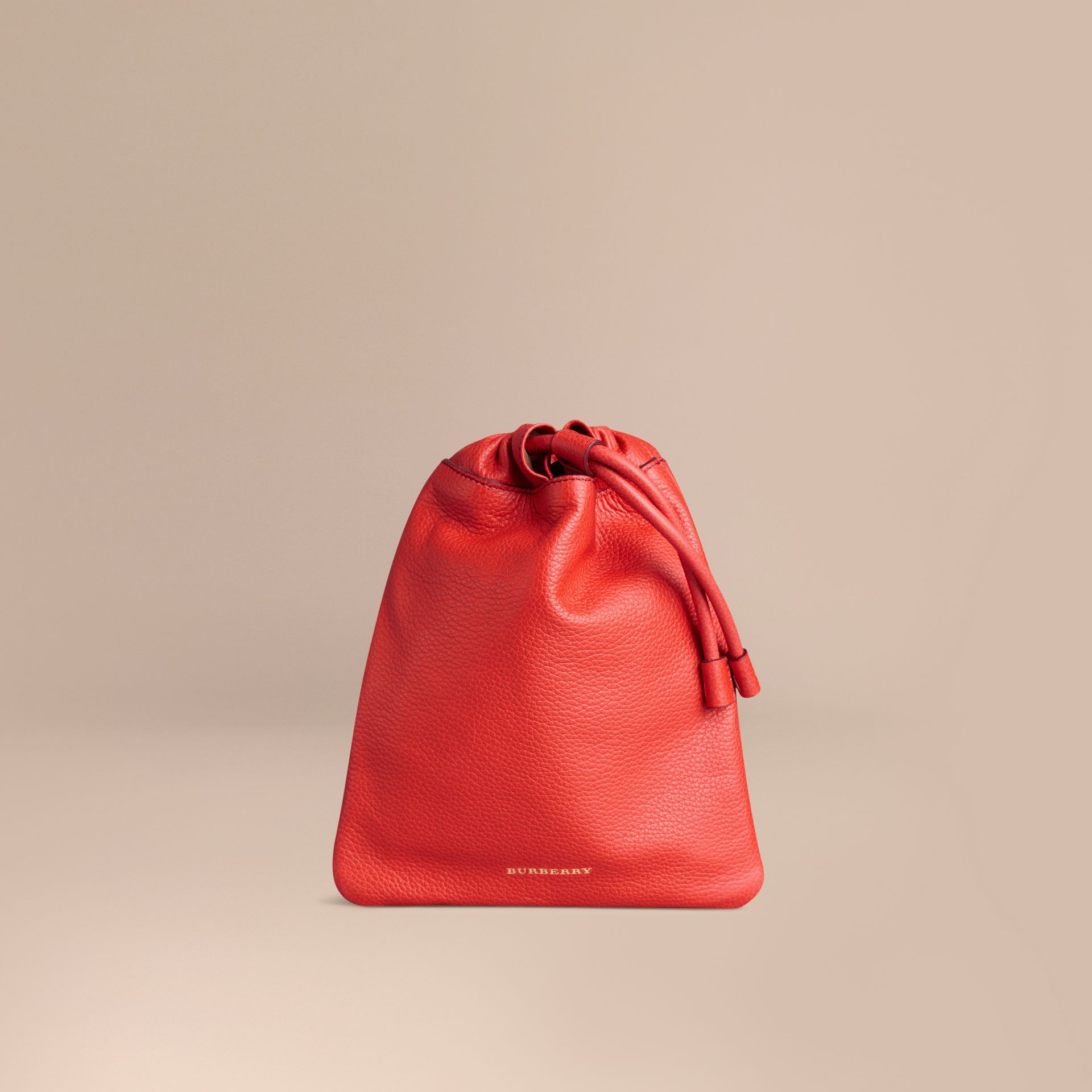 Orange red Grainy Leather Drawstring Pouch Orange Red - gallery image 1