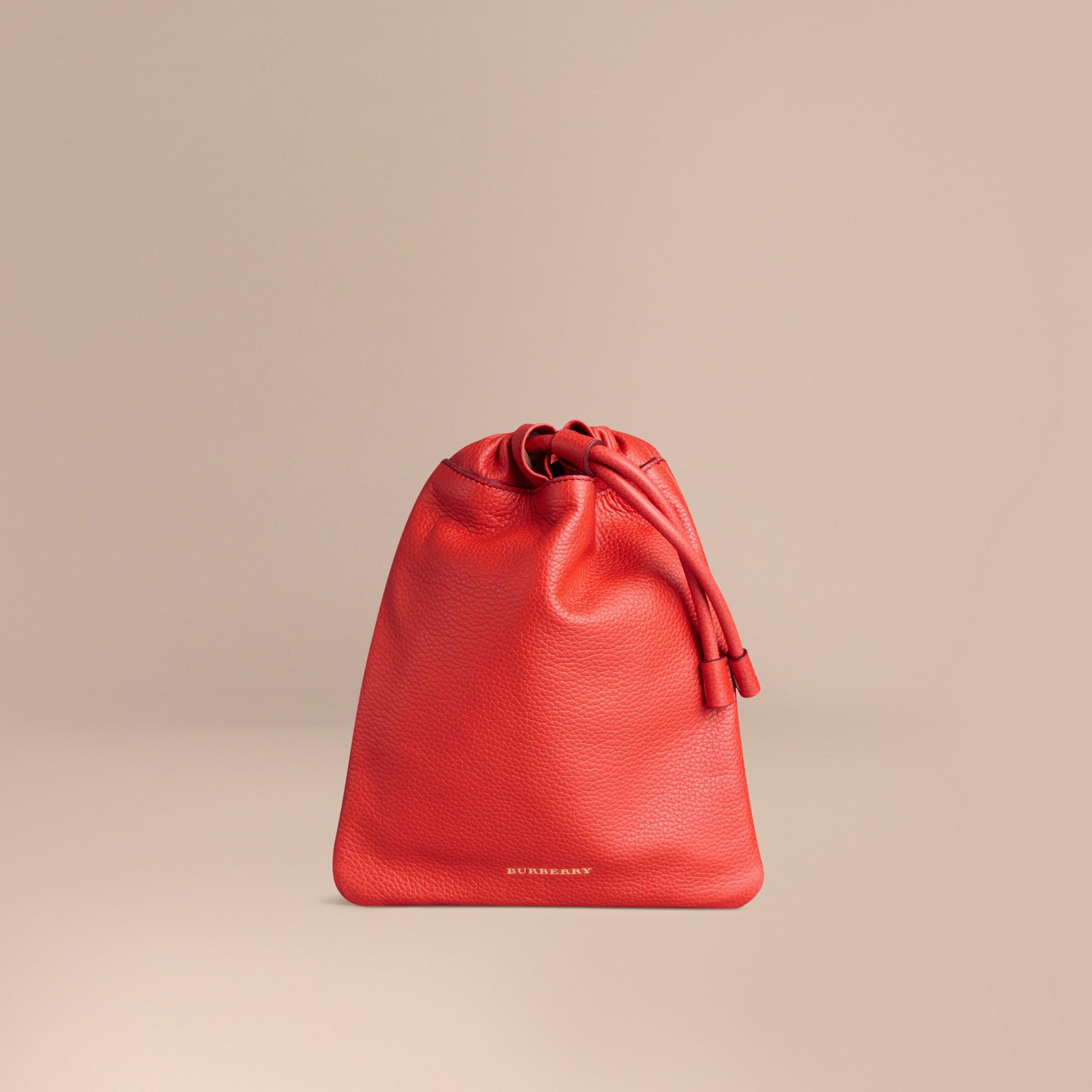 Rosso arancione Pochette in pelle a grana con coulisse Rosso Arancione - immagine della galleria 1