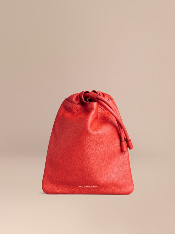Grainy Leather Drawstring Pouch Orange Red