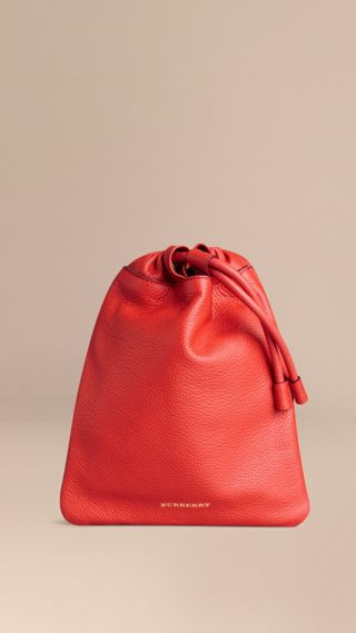 Grainy Leather Drawstring Pouch