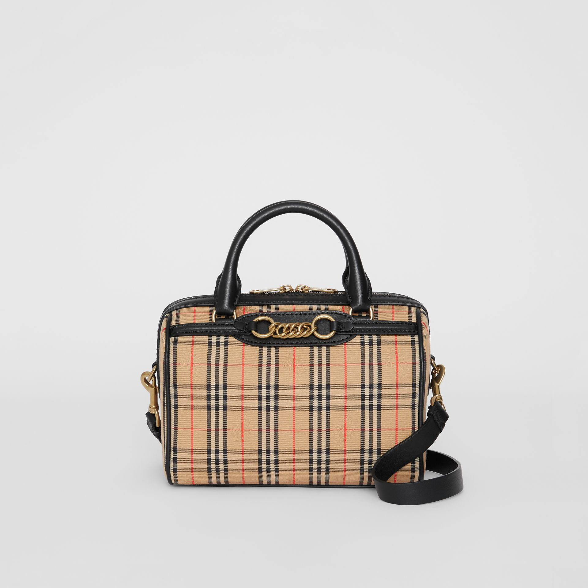 The Small 1983 Check Link Bowling Bag in Black - Women | Burberry - gallery image 0